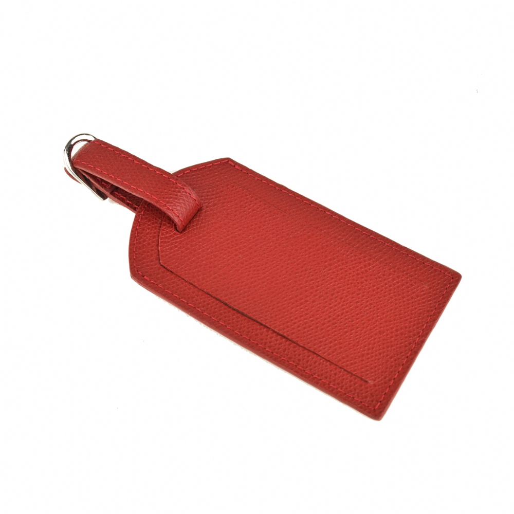 Leather Luggage Tag - Red